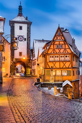 iPhone Wallpaper Germany, Rothenburg, Medieval town, evening, lights, snow, winter