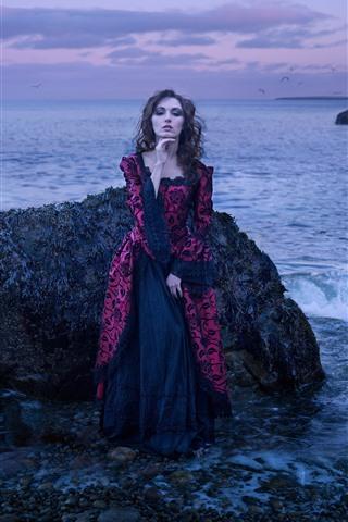 iPhone Wallpaper Girl, skirt, sea, rocks, dusk