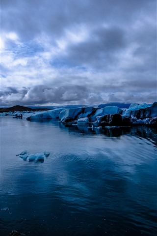 iPhone Wallpaper Glacier, ice, sea, dusk