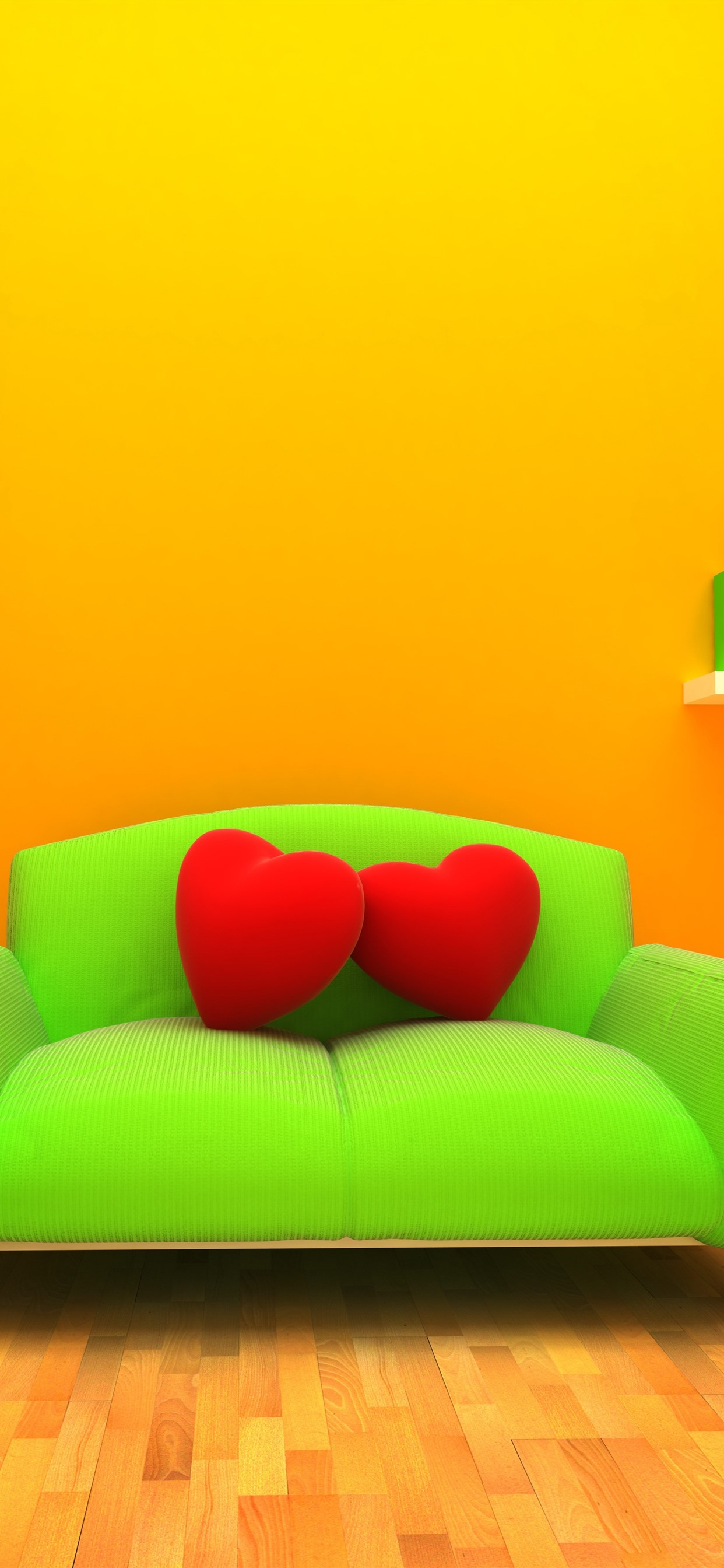 Green Sofa Red Love Heart Pillow Lamp Books Orange