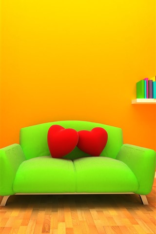 iPhone Wallpaper Green sofa, red love heart pillow, lamp, books, orange background