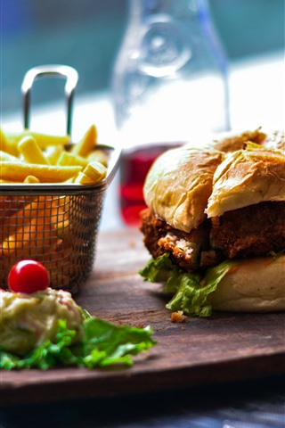 iPhone Wallpaper Hamburger, french fries, food