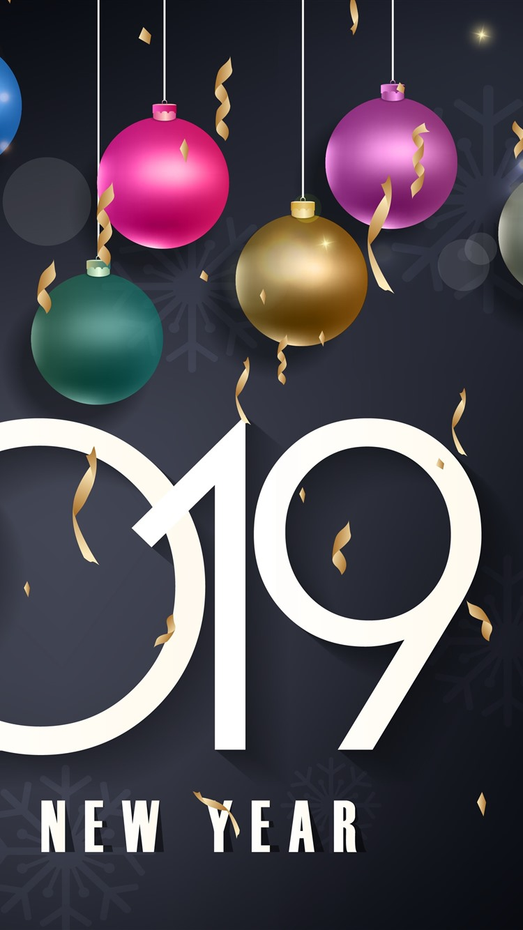 Wallpaper Happy New Year 2019 Colorful Christmas Balls