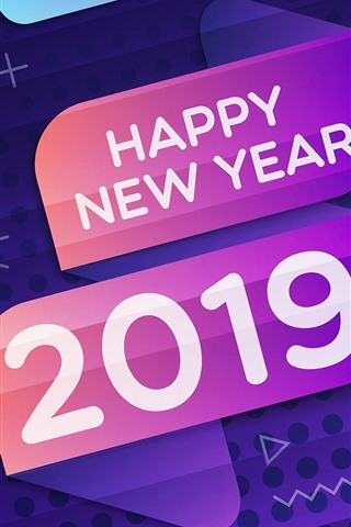 iPhone Wallpaper Happy New Year 2019, colors, design