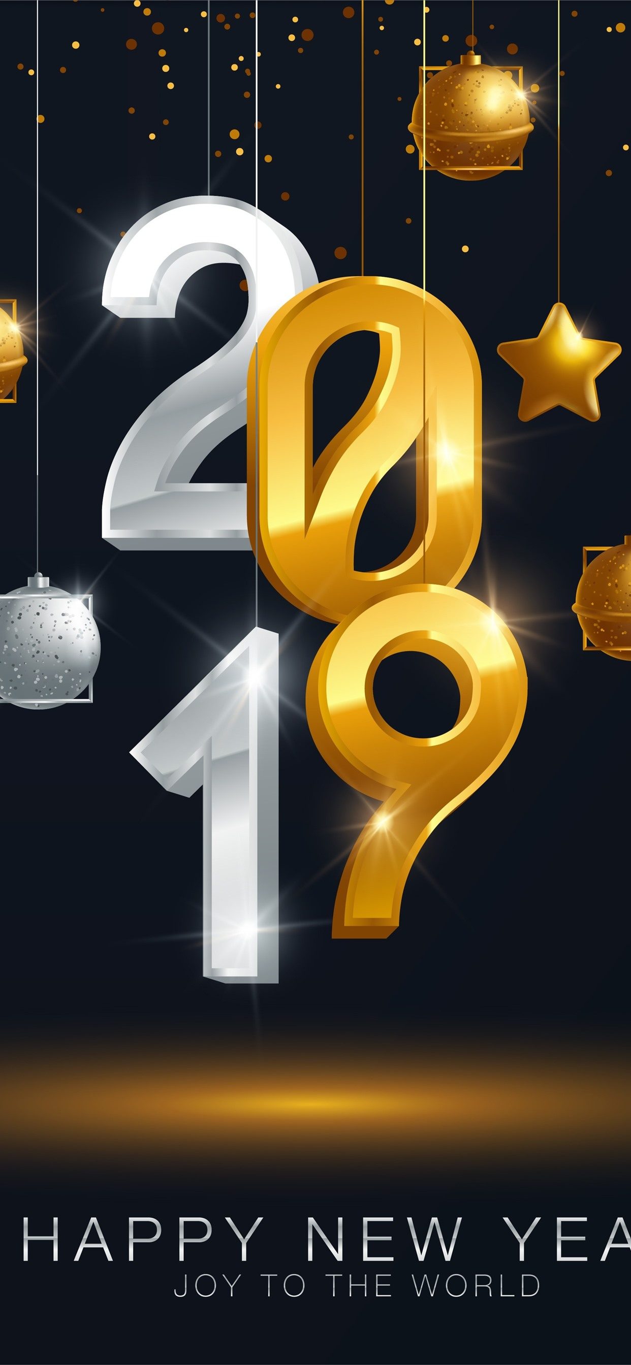 Happy New Year 2019, golden and silver, stars, balls 1242x2688