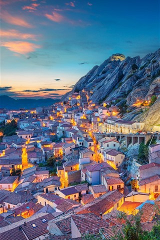 iPhone Wallpaper Italy, Basilicata, city, houses, mountains, evening