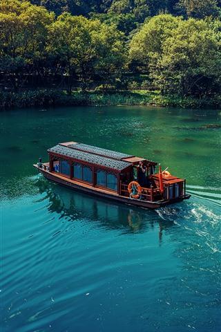 iPhone Wallpaper Lake, boat, trees, house, park, China