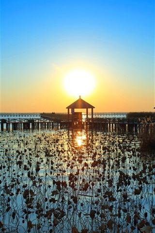 iPhone Wallpaper Lake, pier, sunset