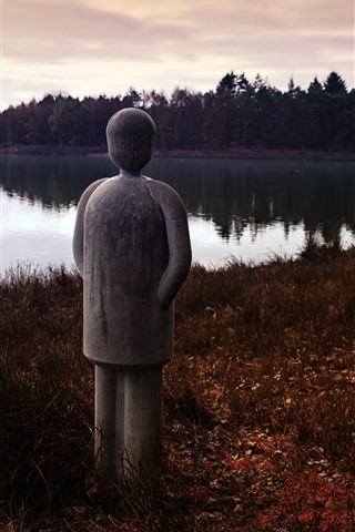 iPhone Wallpaper Lake, scarecrow, dusk