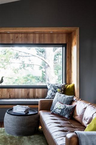 iPhone Wallpaper Living room, sofa, window, lamp