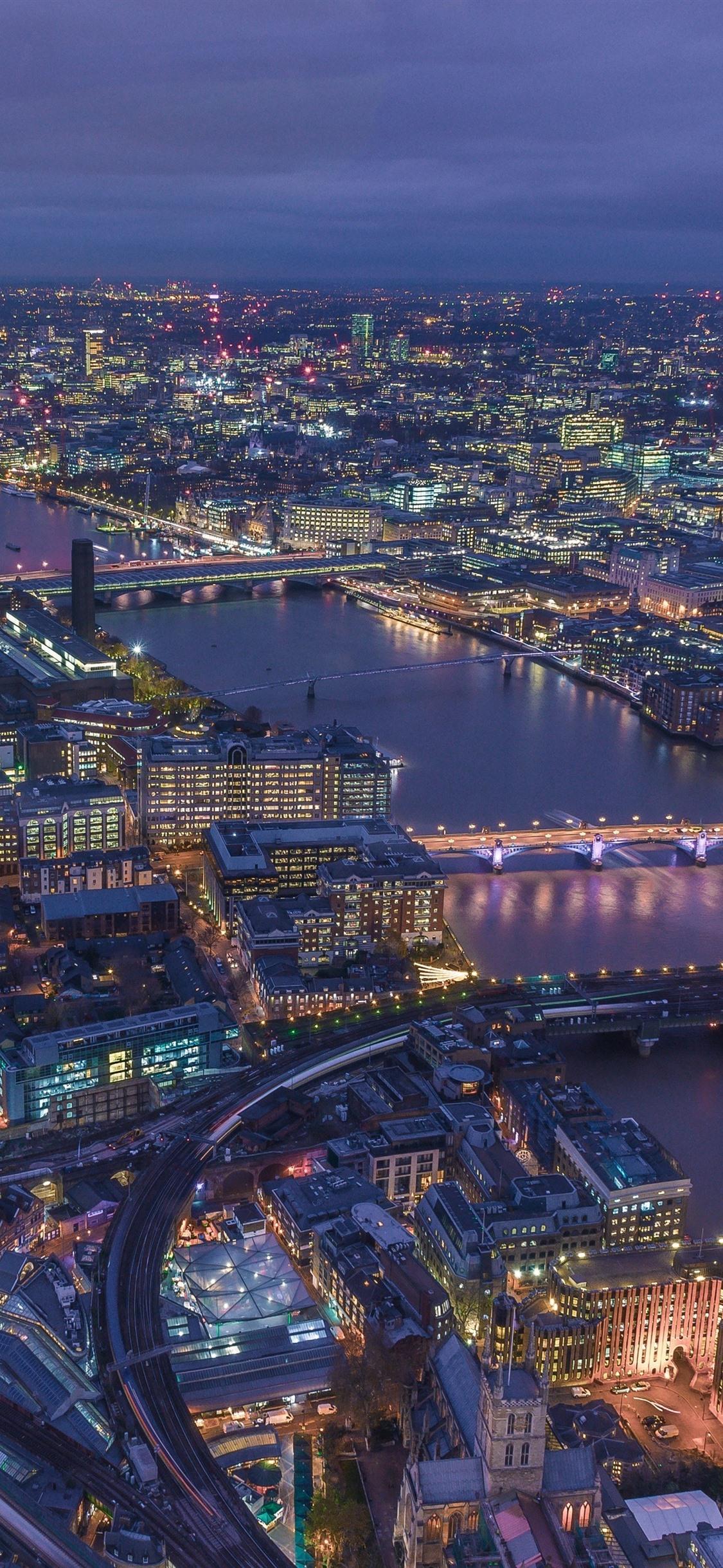 London England Cityscape Buildings River Roads Lights