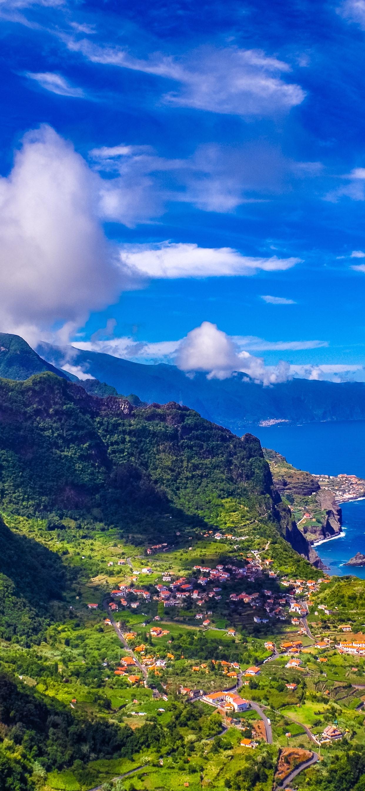 madeira portugal city sea mountains 1242x2688 iphone