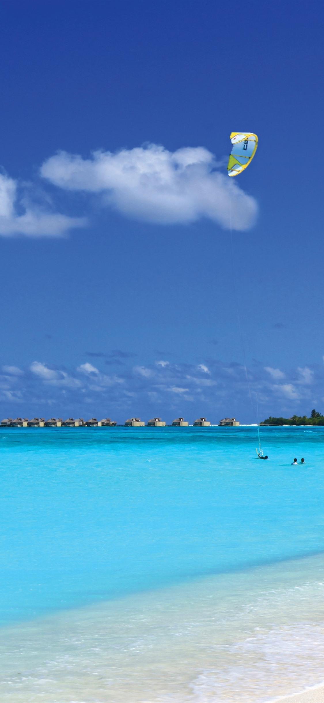 Maldives Blue Sea Beach Resort 1125x2436 Iphone Xs X