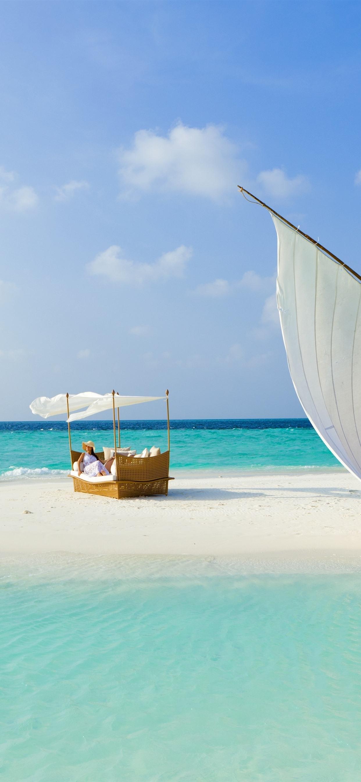 Maldives Sea Beach Sailboat Girl Bed 1242x2688 Iphone