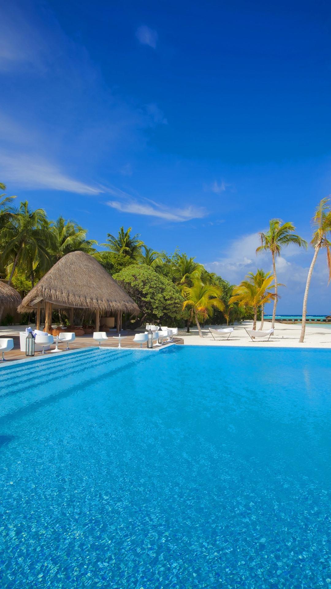 Fonds D Ecran Maldives Piscine Palmiers Chaises Tables 2880x1800 Hd Image