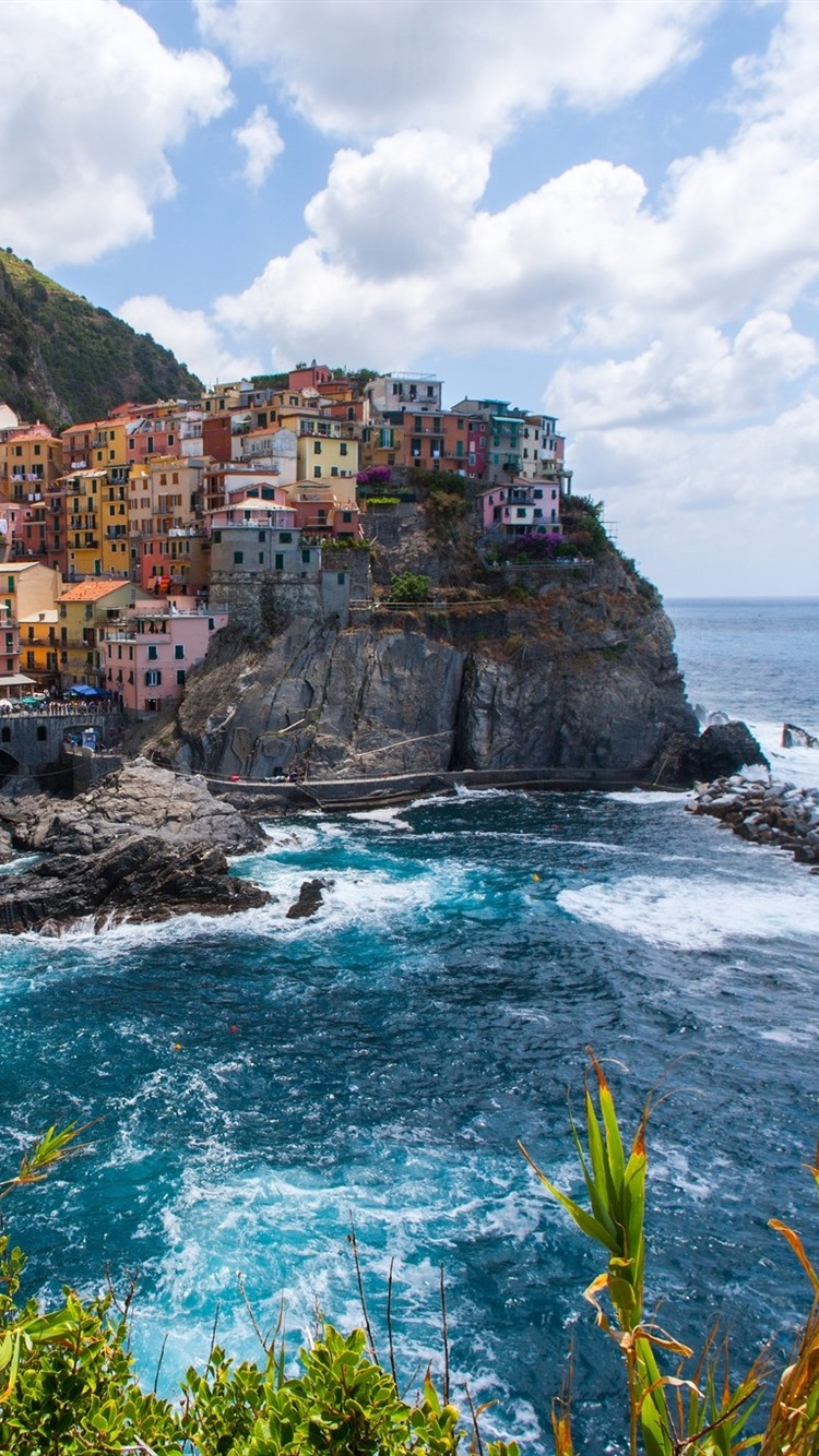 Manarola Cinque Terre Italy Bushes Sea Clouds 750x1334