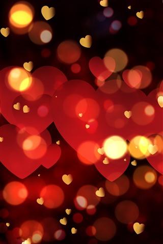 iPhone Wallpaper Many red love hearts, bright, glare