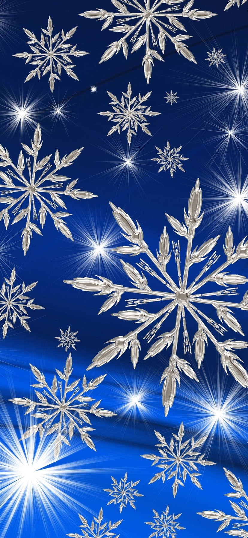 Many White Snowflakes Stars Blue Background 1080x1920 Iphone 8 7 6 6s Plus Wallpaper Background Picture Image