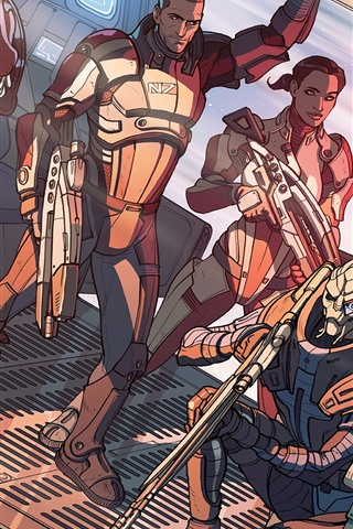 iPhone Wallpaper Mass Effect, art drawing, soldiers