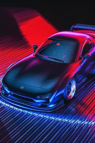 マツダrx 7スポーツカー 3dデザイン 640x1136 Iphone 5 5s 5c Se 壁紙 背景 画像