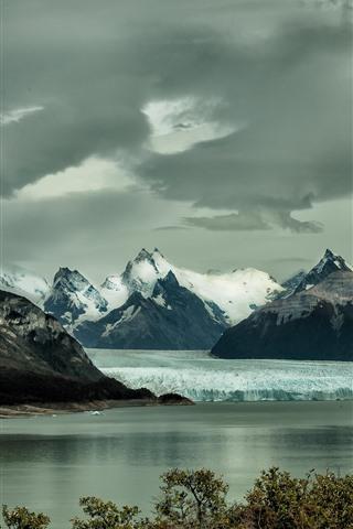 iPhone Hintergrundbilder Berge, Eisberg, Schnee, See, Winter