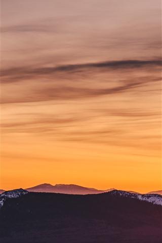 iPhone Wallpaper Mountains, orange sky, sunset