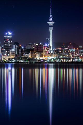 iPhone Wallpaper New Zealand, skyscrapers, buildings, river, city night, illumination