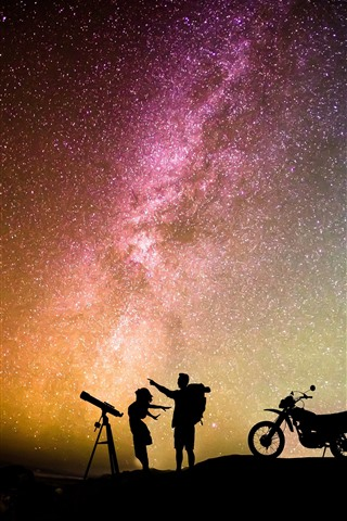 iPhone Wallpaper Night, starry, stars, sky, lovers, motorcycle, romantic