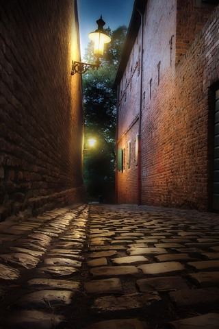 iPhone Wallpaper Night, street, path, road lamps