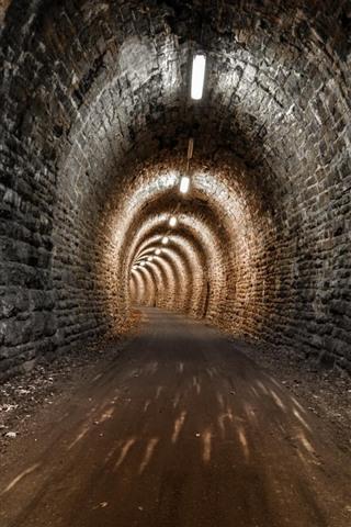 iPhone Wallpaper Night, tunnel, lights, road
