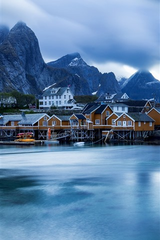 iPhone Wallpaper Norway, Lofoten Islands, houses, sea