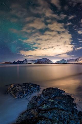 iPhone Wallpaper Norway, Lofoten Islands, sea, stones, stars, sky