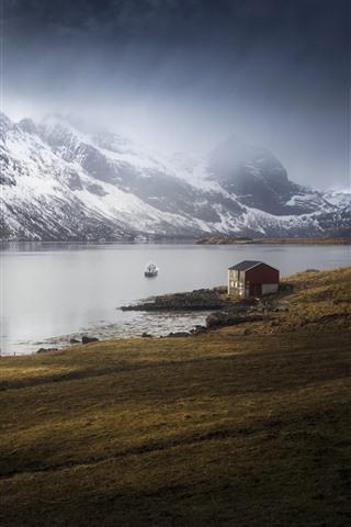 iPhone Wallpaper Norway, Marka, Nordland, sea, house, mountains, snow