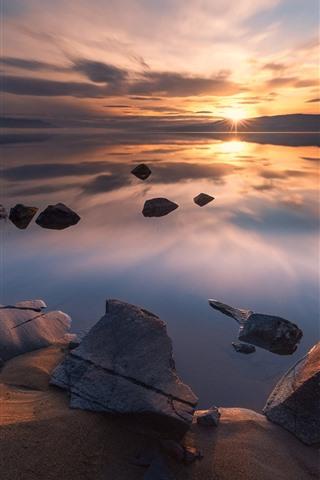 iPhone Wallpaper Norway, Tyrifjorden, lake, rocks, sunset