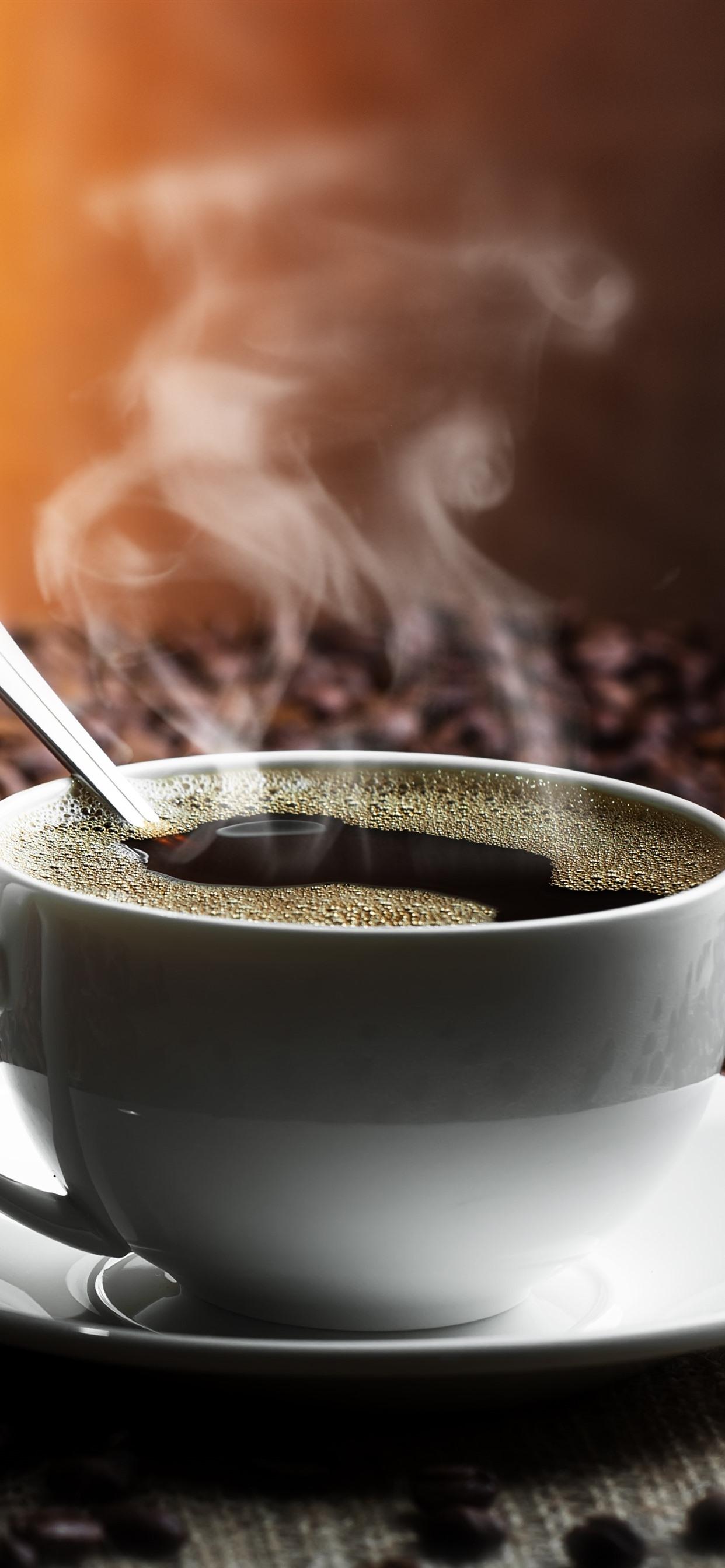 1カップのコーヒー 蒸気 コーヒー豆 1242x2688 Iphone 11 Pro Xs Max