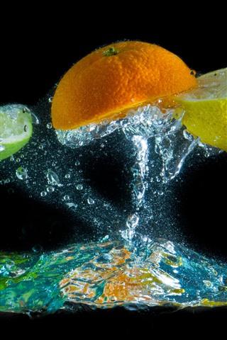 iPhone Wallpaper Orange and lemon slice, water splash