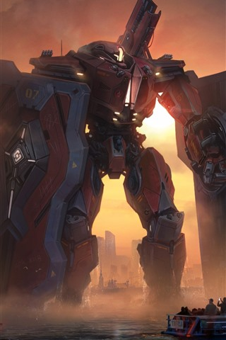 iPhone Wallpaper Pacific Rim, robot, sea, ship