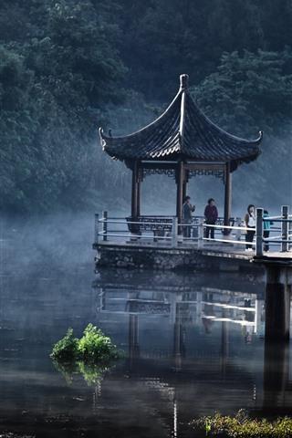 iPhone Wallpaper Park, lake, gazebo, fog