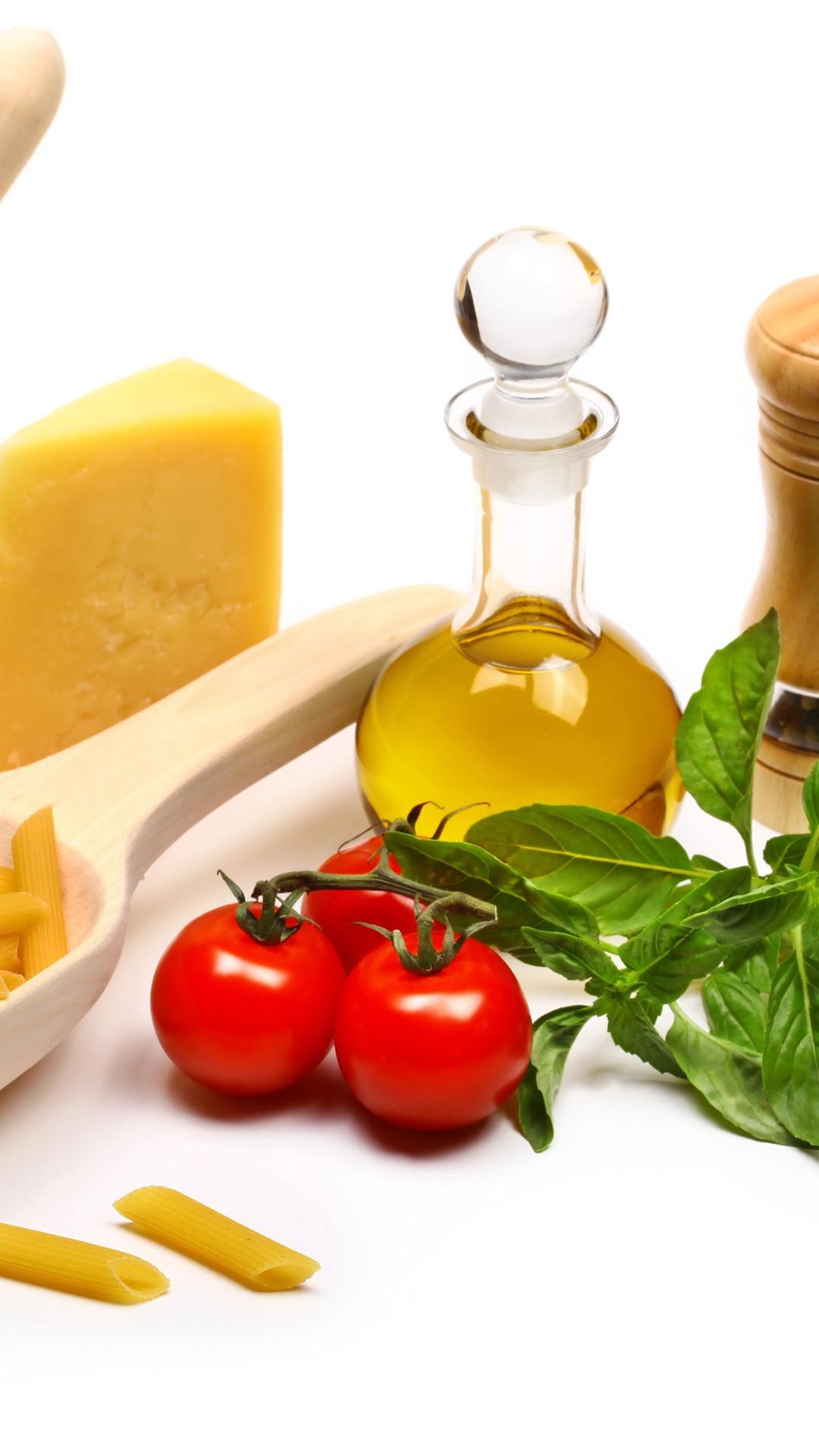 意大利面 洋葱 西红柿 油 白色背景1242x26 Iphone 11 Pro Xs Max 壁纸 图片 背景 照片