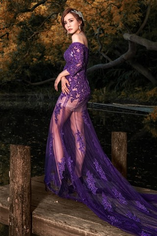 iPhone Wallpaper Purple skirt girl, pond, dock