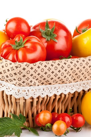 iPhone Wallpaper Red and yellow tomatoes, basket, white background