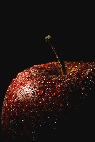iPhone Wallpaper Red apple, water droplets, darkness