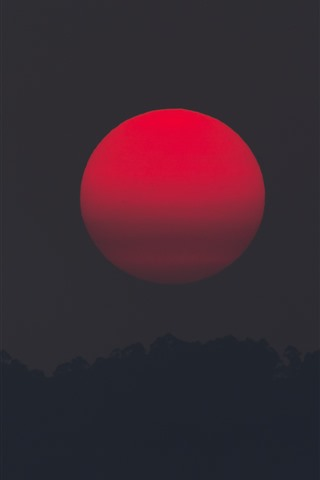 iPhone Обои Красное солнце, закат, ночь