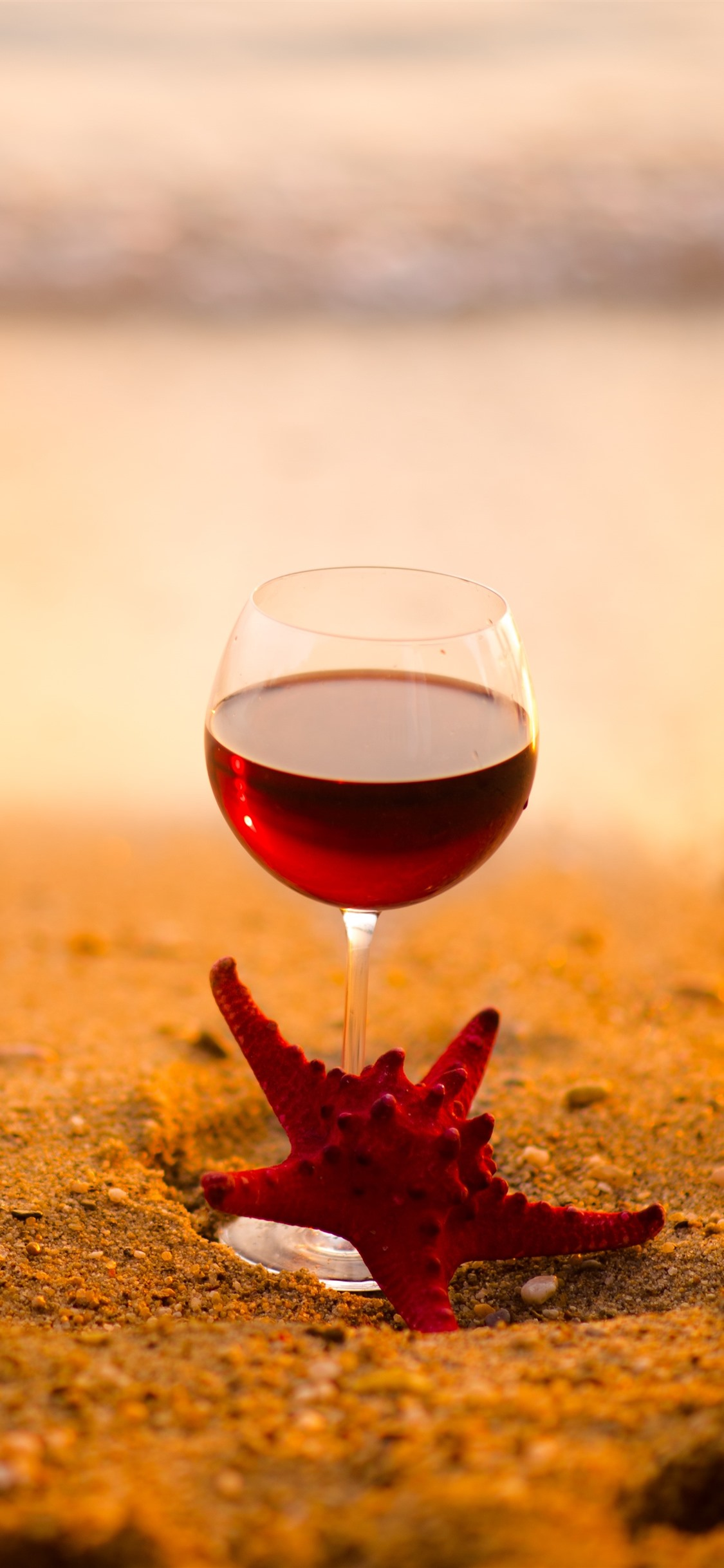 Red Wine Glass Cup Starfish Beach Sea 1242x2688 Iphone 11 Pro Xs Max Wallpaper Background Picture Image