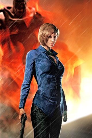 iPhone Wallpaper Resident Evil 3: Nemesis, girl, gun, rain