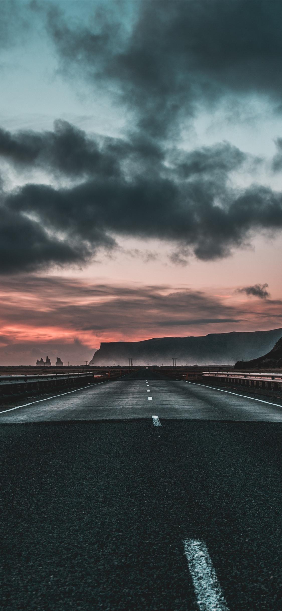 道路,公路,云,黎明 1242x2688 iPhone XS Max 壁纸,图片,背景,照片