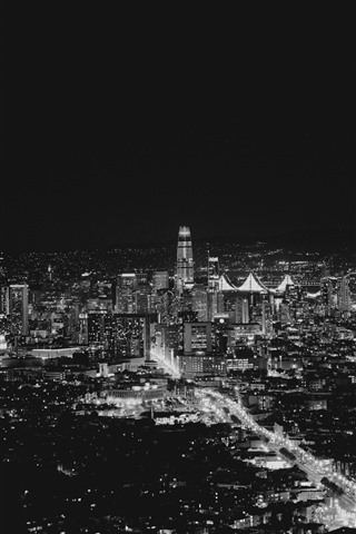 iPhone Wallpaper San Francisco, USA, city night, lights, black and white picture