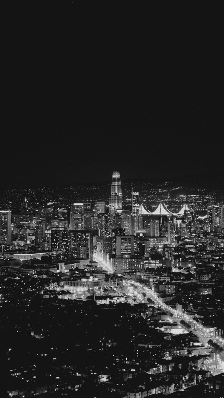 Wallpaper San Francisco Usa City Night Lights Black And White Picture 2880x1800 Hd Picture Image