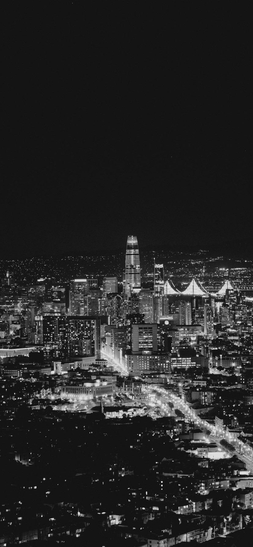 Wallpaper San Francisco Usa City Night Lights Black And