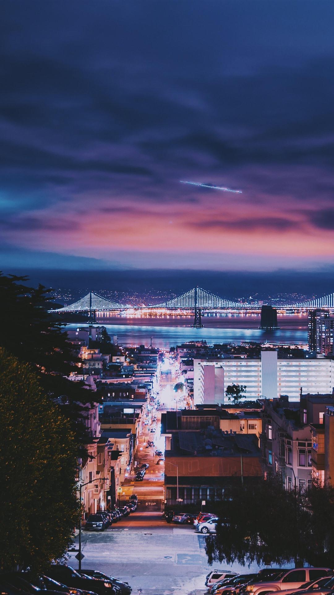 サンフランシスコ 都市 夜 橋 建物 車 イルミネーション